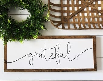 Grateful | Fall - Autumn Framed Wood Sign | Farmhouse Decor