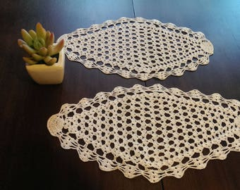 Set of 2 Vintage Rhombus Doily Crochet, Small Handmade Doily, White Hand-knitted Tablecloths, Rustic Home Decoration