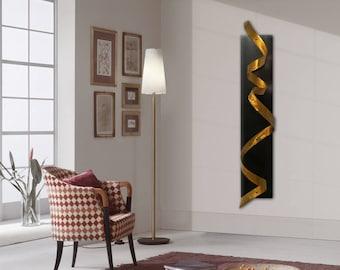 Gold Abstact Wall Sculpture, Metal Wall Sculpture, Modern Metal Wall Art, Twist Sculpure, Abstract Metal Decor, Home Decor Accent,