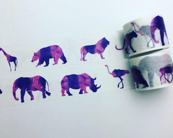 Watercolour animal silhouette washi tape