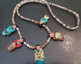 Vintage, Central America, Shell and Clay, Handcrafted Figurines Charming Necklace.