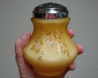 Vintage Fenton Sugar Shaker Muffineer - Honey Amber Cased Glass - LG Wright (1970s)