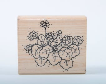 Pretty Flowers and Leaves, Vintage, Floral JRL Design, Single Stamp, Rubber Wood Mounted, Scrapboking, Card Making ~ SS001