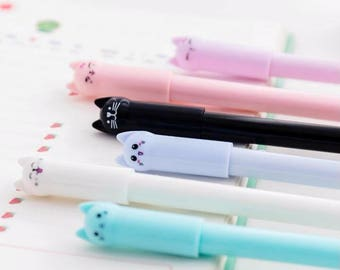Cute Cat Pens / Kawaii Cat Pens / Cute Gel Pens / Kawaii Gel Pens / Cute Pens / Kawaii Pens / Cute School Supplies / Cute Stationary / Momo
