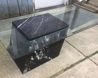 Vintage Marble and Glass Coffee Table