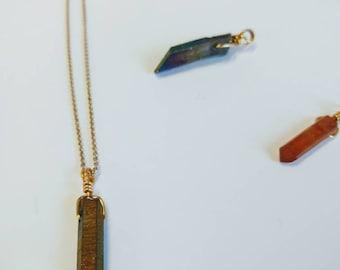 Quartz Necklace-14k Gold necklace,flat gold quartz,natural quartz,gold,chain,crystal,charm,precious stone,14k gold chain