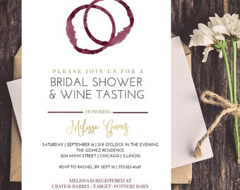 wine themed bridal shower invitation gold purple burgundy wine ring wedding shower invite 5x7 digital file