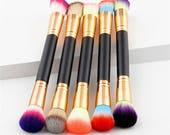 Dual-End Powder Brush Foundation Blush Bronzer Highlighter Contour Vegan Cruelty-Free Makeup U CHOOSE Color Soft Mermaid Washable Reusable!
