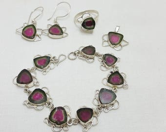 Polish Watermelon Tourmaline Set  Bracelet Earring Pendant &Ring Sliver 925@Afghanistan