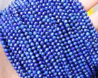 lapis lazuli beads, 3mm beads, faceted beads, small gemstones, boho beads, gemstone beads, blue lapis,