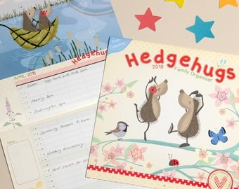 Hedgehugs Family Calendar 2018 | Family Wall Planner | Hedgehog Calendar | Wall Organiser 2018 | Hedgehugs | Gifts for Hedgehog Lovers
