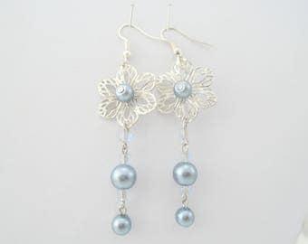 Pearl Earrings, Flower Earrings, Pearl Drop Earrings, Long Earrings, Silver Earrings, Gunmetal dangle earrings, Chandelier earrings,