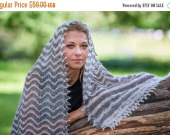 ON SALE 25% OFF Finest White and Grey Wool gossamer Ooak Lace Orenburg shawl Wedding Ring Shawls Handmade Finest wool Christmas gift