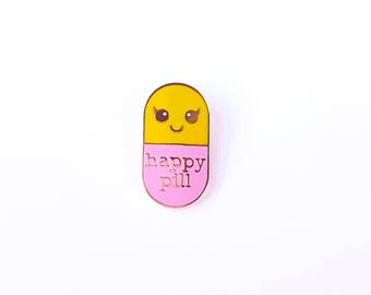 Happy pill yellow/pink hard enamel Kawaii pin