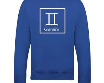 GEMINI 'THE TWINS' horoscope Air sign - astrological symbol Men's Sweatshirt From FatCuckoo SW2099