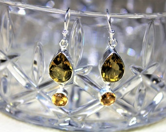Citrine earrings, dangle earrings, .925 Sterling silver earrings, drop earrings, yellow earrings, Mother's Day gift