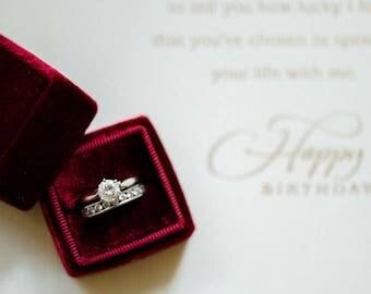 Ring Box - Velvet Ring Box - Vintage Style - Proposal Ring Box - Engagement ring box - Wedding - Personalized Gift - Burgundy