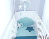 Couverture / couvre-lit  bébé patchwork mint, menthe, bleu lagon, gris, turquoise