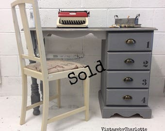 Now Sold....Solid pine childrens desk and chair set hand painted