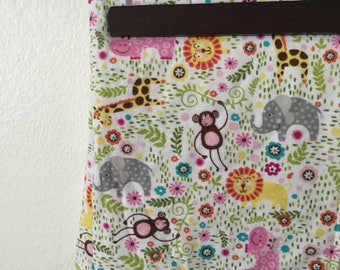 Jungle animal cotton flannel and grey minky crib blanket
