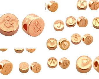 """2x Letter Bead """"&"""" 7 mm Rose gilded #3669"""