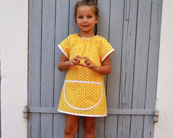 Girls 4-6 Years Yellow with White Polka Dots School Art Smock 100% Cotton Tablier Filles Ecolier Jaune 4-6 Ans Maternelle Petit Pois