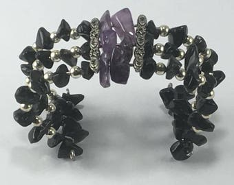 Handmade Genuine Purple Amethyst Cuff Bracelet Black Obsidian Cuff bracelet Wire bracelet Amethyst bracelet Obsidian Bracelet jewelry