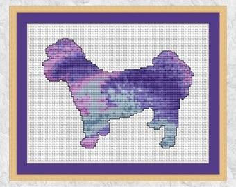 Shih Tzu dog cross stitch pattern, modern dog breed counted cross stitch chart, dog silhouette, watercolour paint effect, printable PDF