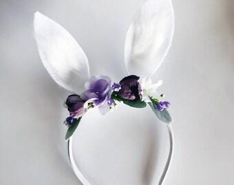 Purple lavender bunny ear headband