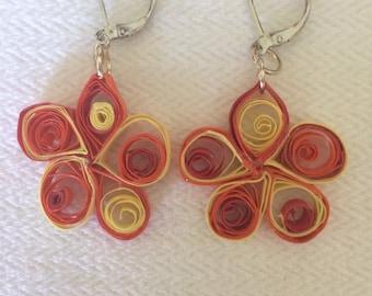 Summer fun, paper quilled, eco friendly, lightweight earrings, shades of orange, flowers, dangle earrings