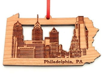 Philadelphia Pennsylvania City Skyline Christmas Ornament - City Skyline Philadelphia Solid Black Cherry Hardwood