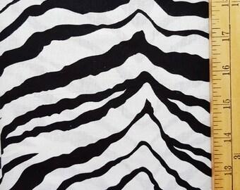 Black White Zebra Print Fabric, 1 yard Fabric