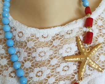 Turquoise pearl necklace and coral, starfish necklace, choker necklace