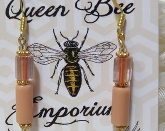 Coral glass beaded earrings- gold-filled hooks