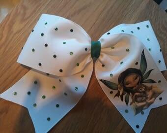 "8"" fairy cheer bow with green rhinestones"