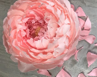 Deluxe Peony, Medium, Crepe Paper Flower, Hanging Wall Art |  | Wedding Decor | Baby Room | Paper Flower Art | Handmade without Templates