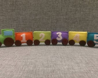 Felt train educational toy, number toy, Felt Stuffed Numbers, Numbers for kid,learning numbers