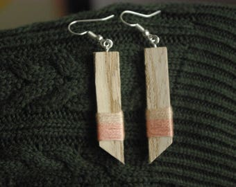 Wood and cotton Bohemian style earrings