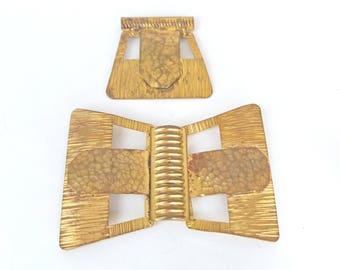 Belt Buckle Dress Clip Set Bow Tie Vintage 1940s Gold Tone Metal Large Unique UK