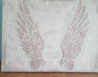 Angel wings canvas mixed media