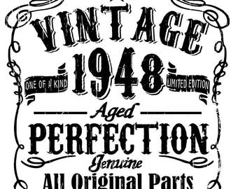 Vintage birthday - 1948, 1958, 1968, 1978, 1988 all included - svg, pdf, png files