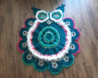 Owl Rug Hand Crocheted