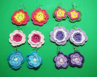 Crochet flowers Earrings, Crochet Hoop Earrings, Crochet earring jewelry, crochet earring , Crochet earrings, Crochet color flowers earrings