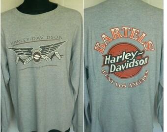 Vintage 90s Harley Davidson BARTELS WEST Los Angeles Mens Sweatshirt Size L Large Made in USA