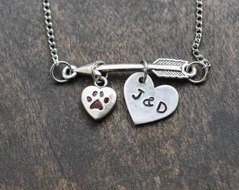 Arrow paw print necklace