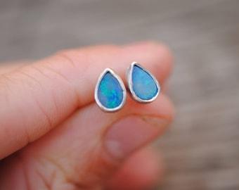 Tiny Opal Stud Earrings   Sterling Silver