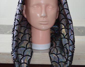 Reversible Sequin Black and Silver Festival Hood/ Rave Hood/ Spirit Hood/ Burning man hood with fish scale lining