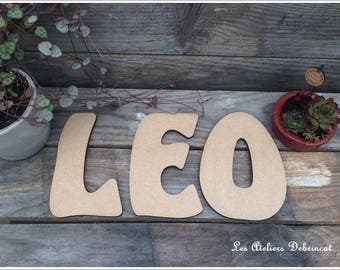 Name height 15 cm 6mm thick wood letter