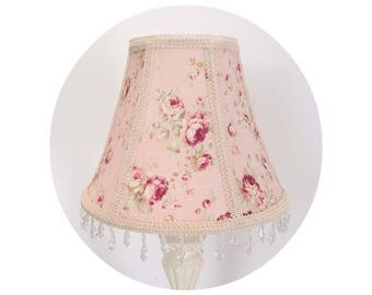 Pink Roses on Pale Pink or Pal Blue fabric - Shabby Chic Lamp Shade