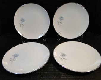 "FOUR Noritake Simone Salad Plates 6407 White Blue Rose 8 1/4"" Set of 4 EXCELLENT!"